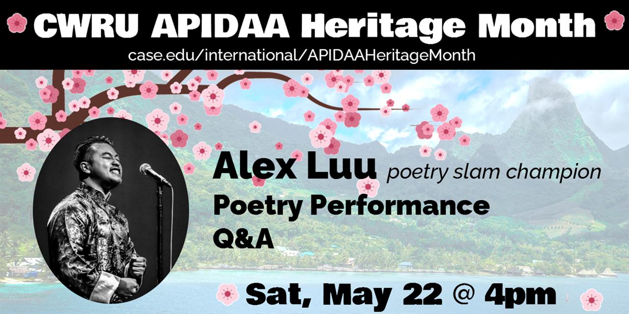APIDAA Heritage Month - Alex Luu: Poetry Performance Q&A Event Logo