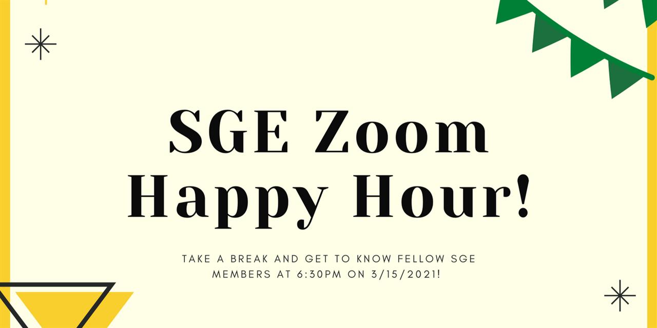 SGE Club: Zoom Happy Hour! Event Logo