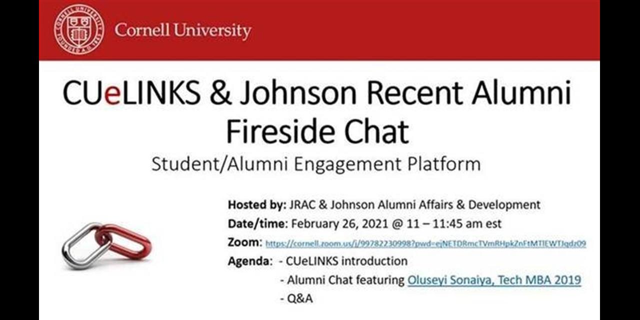 CUeLINKS & Johnson Recent Alumni Fireside Chat Event Logo