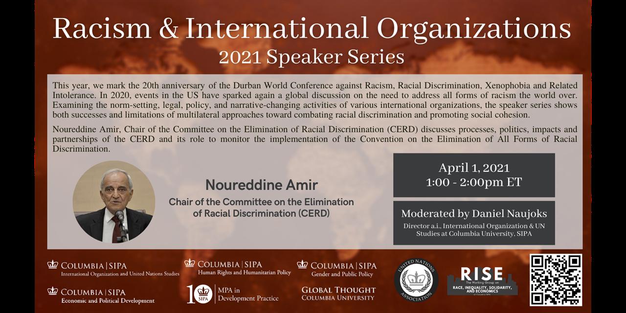 Racism & International Organizations 2021 Speaker Series Event Logo