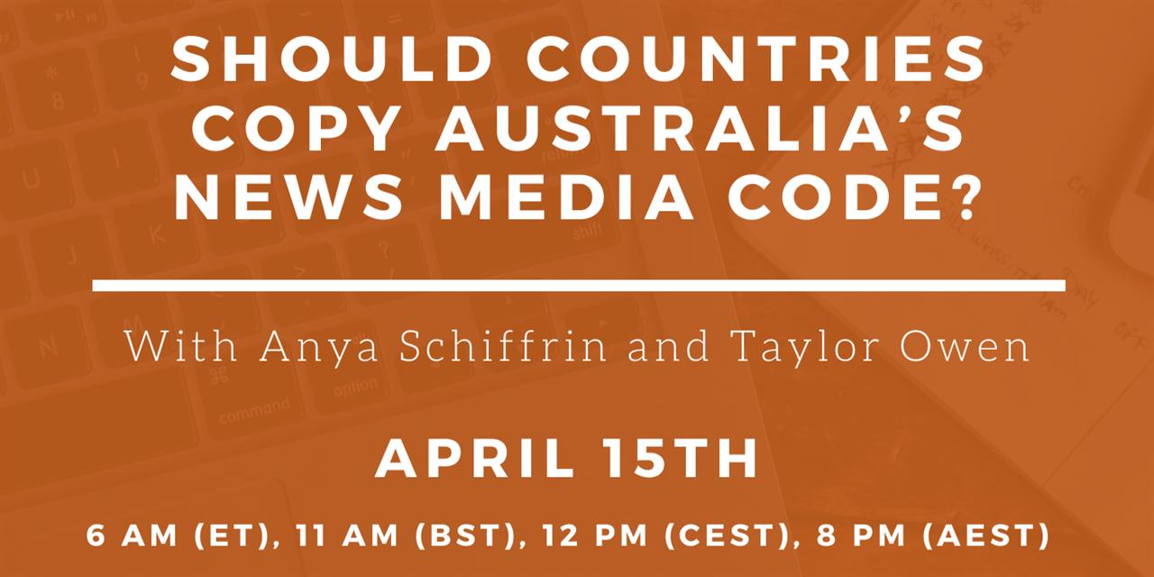 Saving Journalism: Should Countries Copy Australia's New Media Code? Event Logo