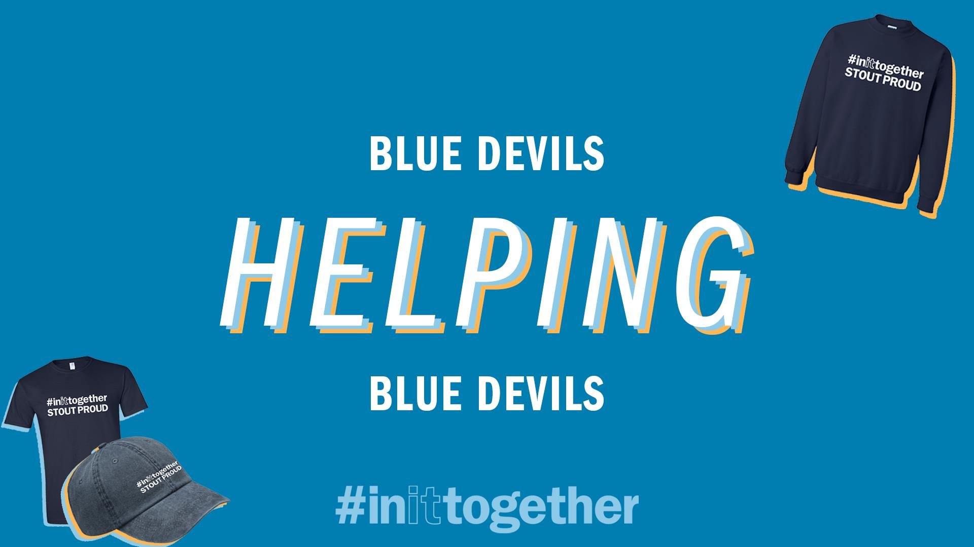 Blue box with text Blue Devils Helping Blue Devils and StoutProud apparel