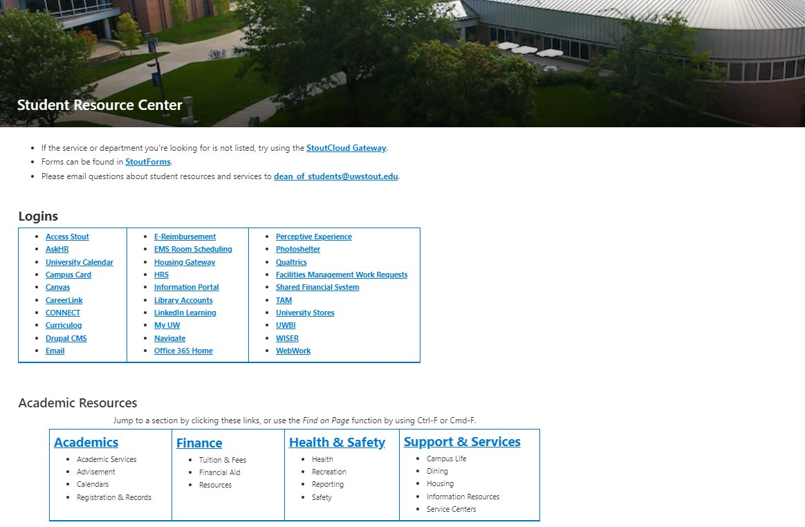 Screenshot of Student Resource Center