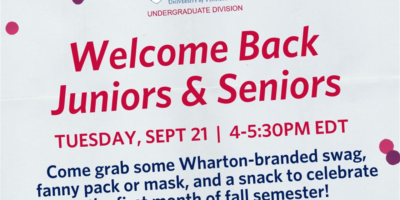 Welcome Back Juniors & Seniors Event Logo